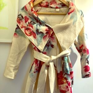 Anthropologie floral wool wrap sweater